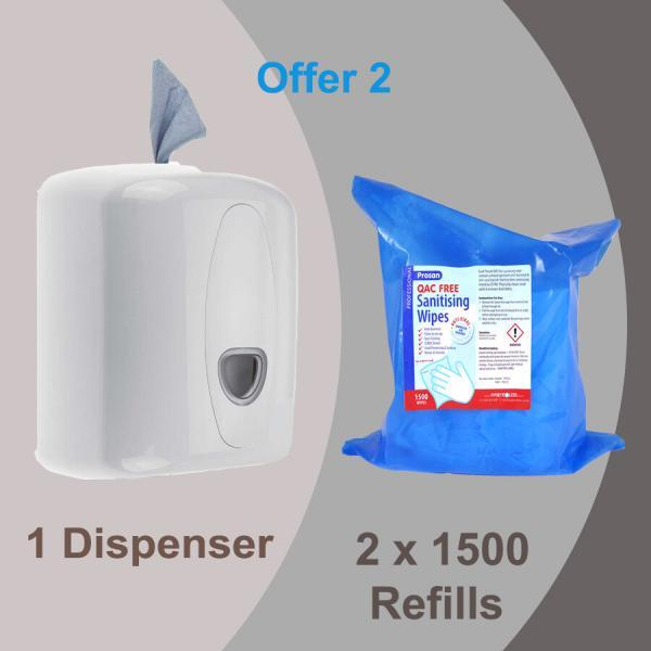 White Wall Mounted Wet Wipe Dispenser plus 2 x 1500 refill bags