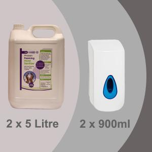 PN6041 2 x 5L Alcohol Free Foaming Hand Sanitiser + 2 x 900ml Foaming Dispenser