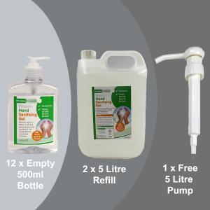 PN628A 12 x Empty 500ml Alchohol Hand Gel + 2 x 5L Refill + Free Pelican Pump