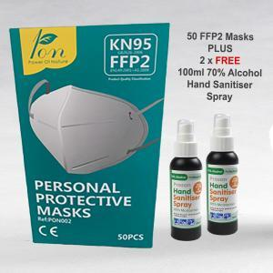 PN1570 FFP2 KN95 3 Ply Face Masks Plus 2 x 100ml 70% Alcohol Hand Spray