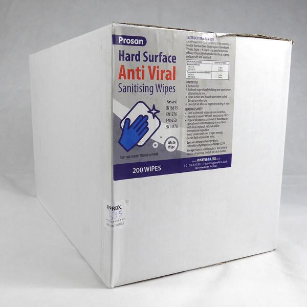 PN1032-1 Case of 6 Tubs x 200 Sheet Prosan Hard Surface Anti Viral White Sanitising Wipes
