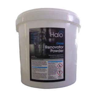 Halo Glass renovator powder in 5Kg bucket improves appearance, minimises scratches and leaves a polished finish